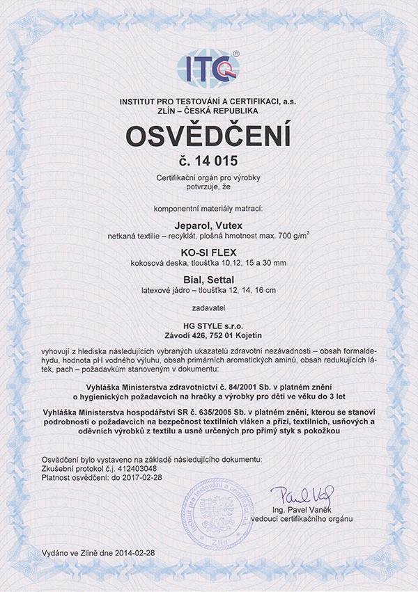 Certifikát materiálů