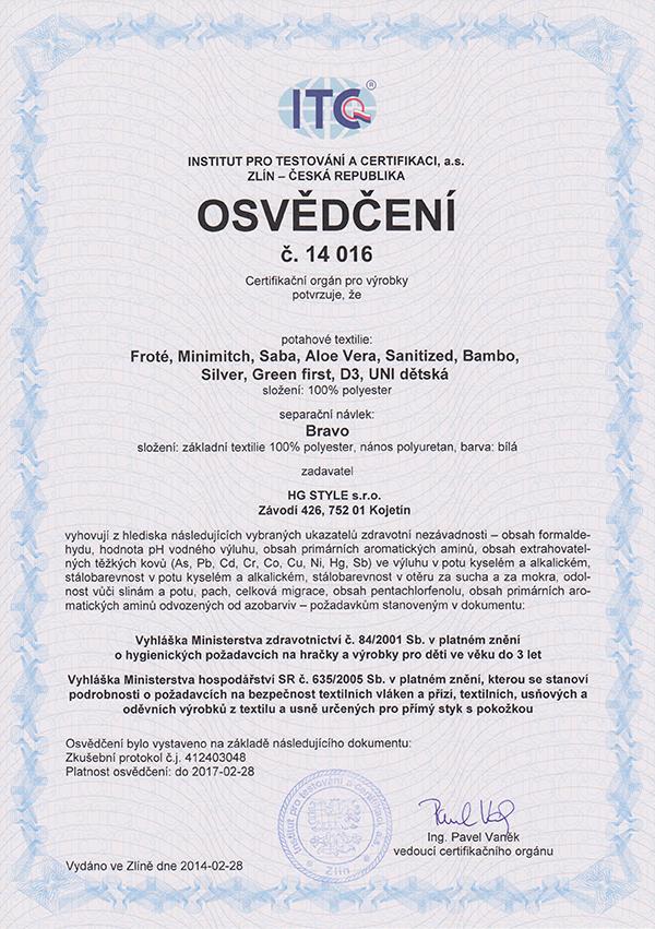 Certifikát látky