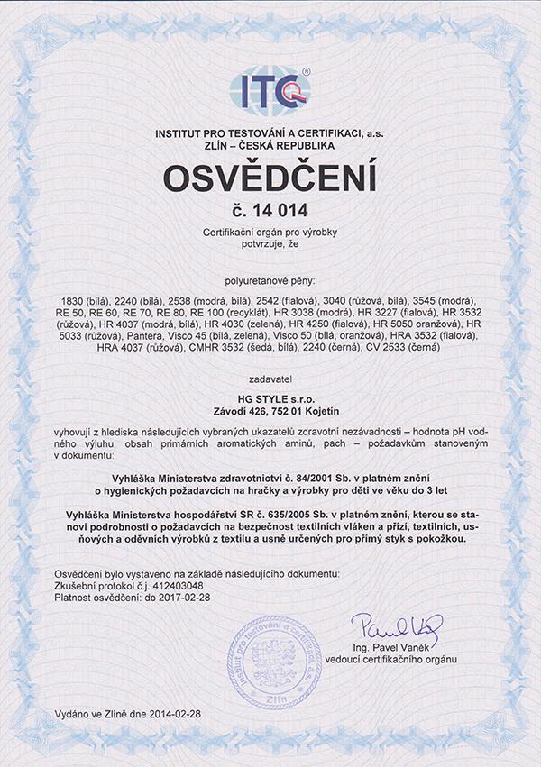 Certifikát pěn