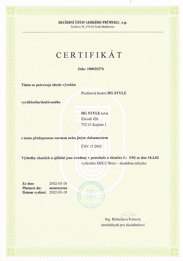 Certifikát - pružiny
